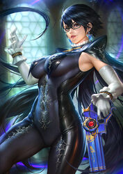 1girl absurdres bayonetta bayonetta_(character) bayonetta_2 bodysuit breasts earrings female female_only glasses gun highres jewelry large_breasts neoartcore paid_reward patreon_reward solo weapon