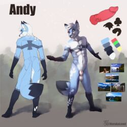 1:1 2019 abs andy_(character) animal_genitalia animal_penis anthro ass athletic balls big_tail black_fur blue_fur blush canid canine canine_penis claws ear_piercing ear_ring fluffy forest fully_sheathed fur green_eyes hair hi_res invalid_color invalid_tag inviting jewelry long_tail looking_at_viewer male male_only mammal markings model_sheet naruka palette pecs penis piercing pink_penis sheath simple_background solo solo_male specie:canine specie:fox specie:mammal specie:vulpine tattoo tree white_fur white_hair