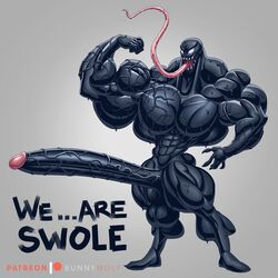 1boy abs alien black_skin hyper hyper_muscles hyper_penis long_penis long_tongue muscular muscular_male no_nipples patreon saliva slime solo_male spider-man_(series) teeth testicles text the_fabulous_croissant tongue tongue_out veins veiny_penis venom watermark wet