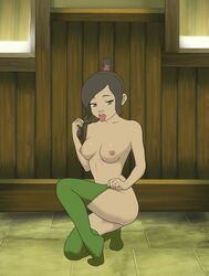 anaxus avatar_the_last_airbender breasts brown_hair edit female holding_hair kneeling long_hair looking_at_viewer naked nipples open_mouth ponytail room small_breasts solo stockings tagme tongue tongue_out ty_lee