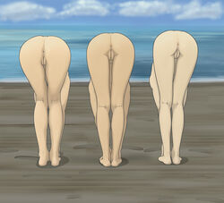 3girls anaxus anus ass avatar_the_last_airbender azula back_view beach bending_over bent_over breasts fate/zero footprint innie_pussy mai_(avatar) nude ocean outdoors plump_labia pussy sand ty_lee