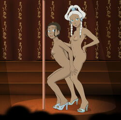 2girls anaxus avatar_the_last_airbender blue_eyes brown_hair crowd female hand_on_hip hand_on_leg high_heels katara long_hair looking_at_viewer naked nipples open_mouth open_toe_shoes pigtails ponytail side_view sideboob small_breasts standing strip_club stripper_pole tagme white_hair yue