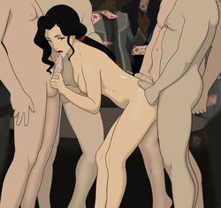 1girls 4boys anaxus asami_sato avatar_the_last_airbender bent_over black_hair breasts cum cum_drip cum_on_back cum_on_lower_body cum_on_mouth cum_on_penis female fivesome from_behind green_eyes holding_penis long_hair looking_at_viewer male money naked nipple penis ponytail room sideboob small_breasts strip_club the_legend_of_korra