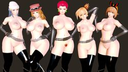 3d 5girls abs alternate_breast_size armpits ass belt black_background black_stockings blue_eyes blue_hair breasts brown_hair dawn_(pokemon) earrings elbow_gloves eye_contact female female_only glasses gloves hairy_pussy hat honey_select huge_breasts jessie_(pokemon) kasumi_(pokemon) large_breasts latex latex_gloves long_hair looking_at_viewer luna_(artist) may_(pokemon) nude pokemon pokemon_bw pokemon_dppt pokemon_rgby pokemon_rse pose red_hair serena_(pokemon) short_hair smile source_request textless thick_thighs thighhighs wide_hips