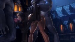 1girls 2boys animated areolae balls big_breasts bondage breasts canine_penis cum erection fellatio female from_behind human knot knotting large_breasts male nipples noname55 nude oral penis pillory restrained sex sound source_filmmaker spitroast stocks straight testicles threesome webm worgen world_of_warcraft