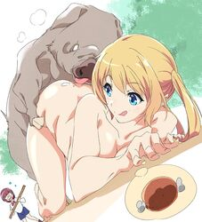 2girls :q amatani_mutsu ass beach blonde_hair blue_eyes boar bow bowtie commentary_request doggy_style dutch_angle food forest looking_back meat multiple_girls nature nude onishima_homare outdoors red_neckwear sex sounan_desuka? thought_bubble tongue tongue_out top-down_bottom-up twintails umanosuke zoophilia