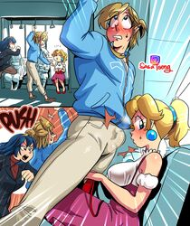 1boy 2girls big_breasts blonde_hair blue_eyes blue_hair breast_cutout dress earrings erection_under_clothes female fire_emblem link lucina male nintendo penis_in_face princess_peach public sasatseng shove super_mario_bros. sweatshirt the_legend_of_zelda