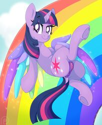 2019 alicorn anus clitoris cloud cutie_mark darkened_genitals digital_media_(artwork) dock equid eyelashes feathered_wings feathers female feral flying friendship_is_magic hair hi_res hooves horn mammal multicolored_feathers multicolored_hair multicolored_tail my_little_pony pearlyiridescence purple_eyes pussy rainbow sky smile solo sparkles twilight_sparkle_(mlp) underhoof wings