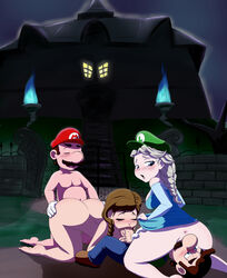 2boys 2girls age_difference anna_(frozen) ass blonde_hair blowjob brown_hair clothed_sex clothing crossover crot doggy_style dress_lift elsa_(frozen) facesitting feet fellatio foursome frozen_(movie) large_breasts large_penis licking luigi luigi's_mansion mario oral oral_sex outdoors outside pigtails ponytail public public_sex saliva saliva_on_penis saliva_trail sucking super_mario_bros. super_smash_bros. twintails wet_pussy