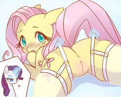 2019 5:4 anus ass blue_background blue_eyes blush bodily_fluids cleft_of_venus clothing cutie_mark drooling duo embarrassed equid equine eyelashes female female/female feral fluttershy_(mlp) friendship_is_magic fur garter_straps hair half-closed_eyes heart horn horse kirinit legwear long_hair looking_at_viewer looking_back lying magic mammal my_little_pony on_front open_mouth pink_hair plump_labia pony purple_hair pussy raised_tail rarity_(mlp) saliva simple_background smile stockings thigh_highs translucent translucent_clothing translucent_legwear unicorn white_fur yellow_fur yuri