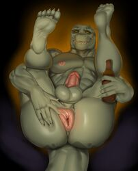 5_fingers 5_toes alcohol anthro anus ass balls beer beverage big_butt claws crocodile crocodilian crocodylid erection feet fingers hi_res humanoid_feet justmegabenewell legs_up looking_at_viewer lying male muscular muscular_male nipples nude on_back pecs penis plantigrade presenting presenting_hindquarters puffy_anus reptile scalie smile soles solo toe_claws toes yellow_sclera