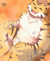 2019 anthro belly black_nose bodily_fluids bulge closed_eyes felid humanoid_hands male mammal moobs navel nipples overweight overweight_male pantherine sitting sweat tefusama tiger young