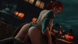 1boy 1girls 3d areolae ass bomyman breasts cowgirl_position erection female looking_at_viewer looking_back male nipples penis sex the_witcher the_witcher_3:_wild_hunt triss_merigold