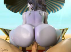 1boy 1girls 3d alternate_costume ambiguous_penetration anal anal_penetration animated ass beach bikini_tan blender cote_d'azur_widowmaker erection female gasp hoop_earrings huge_ass looking_back lounge male male_pov no_pubes nude overwatch penetration penis pov purple_hair rastafariansfm reverse_cowgirl_position riding sand sex sitting_on_lap sitting_on_penis sound straight sunglasses tanline tattoo tight_fit umbrella webm widowmaker