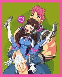 1futa 1girls ahe_gao ahegao asian big_dom_small_sub big_penis bulge clothed clothed_sex cum cum_in_pussy cum_inside d.va deep_penetration fucked_silly full_nelson futa_on_female futanari heart huge_cock interracial larger_futanari looking_pleasured muscular_futanari overwatch partially_clothed pink_hair pleasure_face short_hair size_difference smaller_female standing stomach_bulge tongue tongue_out vaginal_penetration veiny_penis vivid_daze zarya