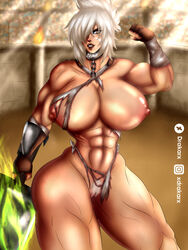 abs big_ass big_breasts brown_eyes chains collar defeated drakar female female_only large_breasts league_of_legends looking_at_viewer muscular muscular_female nipples nude pubic_hair riven silver_hair slave torn_clothes