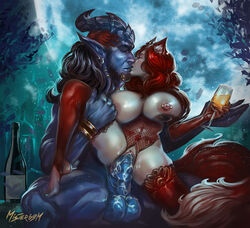 1boy 1girls animal_ears areolae balls big_breasts big_penis breasts clothing draenei duo female fox fox_girl fox_humanoid hair horn interspecies kissing large_breasts long_hair male mister69m nipples penetration penis pussy red_hair sex straight tail vaginal_penetration video_games warcraft world_of_warcraft