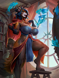 2019 5_fingers ailurid anthro barefoot big_breasts blue_eyes blue_hair bonifasko breasts clothed clothing detailed_background digital_media_(artwork) female fingers front_view gynomorph hair intersex magic mammal mia_(talash) red_panda smile solo standing