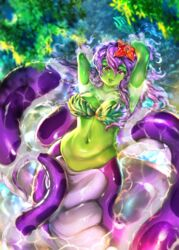 arms_up bikini_top coils female female_only female_solo floating floating_hair flower green_skin high_resolution iris(violet_scales) lamia large_filesize long_hair monster_girl naga naga_girl original psychowolf purple_eyes purple_hair purple_scales purple_skin purple_tail red_flower river scales snake snake_girl snake_tail solo very_high_resolution viewed_from_above water