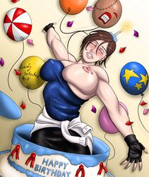 balloon bare_shoulders big_breasts birthday birthday_cake blush breast_slip breasts brown_hair busty candle erect_nipples fingerless_gloves huge_breasts jill_valentine large_breasts muscle_tone nipple_bulge nipples resident_evil short_hair skirt smile sweater_around_waist tubetop virus_infected_art