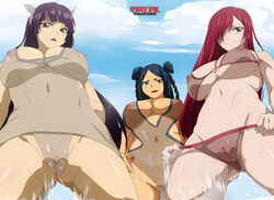 aidan areolae belly bikini black_hair breasts brown_eyes erect_nipples erza_scarlet fairy_tail gluteal_fold green_eyes hair_over_one_eye high_resolution hime_cut huge_breasts kagura_mikazuchi long_hair minerva_orlando nipples nude one-piece_swimsuit open_mouth purple_hair red_hair smile standing swimsuit transparent_clothes uncensored vagina very_high_resolution yellow_eyes