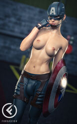 1futa 3d abs areolae avengers breasts bulge captain_america cosplay dickgirl forged3dx futa_only futanari looking_at_viewer marvel nipples rule_63 solo topless