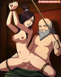 1boy 1girl age_difference areolae athletic avatar_the_last_airbender background balls beard big_nipples black_hair bondage bound bound_legs bound_wrists breasts completely_nude eye_contact female grin hair_covering_breasts hair_covering_eye hair_ornament hands_tied hip_grab iroh june legs_tied long_hair looking_back medium_breasts naked nipples nude old_man open_legs patreon penetration penis perky_breasts pussy pussy_juice pussy_juice_splatter rape reit restrained reverse_cowgirl_position rope rope_bondage sex shaved_pussy skull spread_legs straight suspended tattoo thin_waist tied tied_up topknot vaginal_penetration wet_pussy