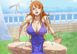 animated big_breasts bouncing_breasts clothed_female_nude_male clothed_sex cowgirl_position kyabakurabakufu long_hair looking_at_viewer nami one_piece sound_effects