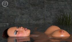 3d areolae big_breasts blush breasts breasts_outside brown_hair closed_eyes eyeshadow female female_focus female_only floating floating_breasts gunnersteve3d lara_croft large_breasts lipstick nipples pinup pool realistic relaxing solo swimming swimming_pool thick_lips tomb_raider underwater water wet