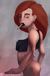 big_lips black_lipstick bottomless cigarette clothing crop_top devanpatterns female female_only freckles kim_possible kimberly_ann_possible lipstick long_hair mole mole_under_eye nail_polish perky_breasts pointy_breasts red_hair ribs small_breasts solo tank_top thick_eyebrows thick_thighs wide_hips