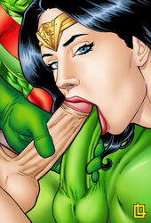 2boys amazon aquaman black_hair blowjob blue_eyes close-up crown dc dc_comics diana_prince double_fellatio double_oral female female_focus goddess green_arrow green_penis green_skin justice_league leandro_comics lips lipstick looking_at_viewer martian_manhunter oliver_queen open_mouth penis penis_grab penis_lick red_lips red_lipstick threesome touching_penis two_dicks_one_mouth wonder_woman