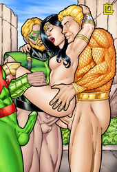 3boys amazon anal anal_insertion anal_sex aquaman ass ass_grab black_hair blonde_hair breasts carrying closed_eyes dc dc_comics diana_prince double_penetration female foursome gangbang goddess grabbing_hair green_arrow green_penis green_skin hands_behind_head head_grab insertion justice_league leandro_comics martian_manhunter moan moaning muscular nipples oliver_queen outdoor outdoors penetration sex spread_legs spreading stand_and_carry_position standing standing_sex threesome vaginal_insertion vaginal_penetration vaginal_sex wonder_woman