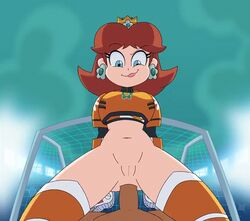 1girls anal anal_sex animated armor belly blue_eyes bottomless brown_hair cowgirl_position crown dark-skinned_male earrings eyebrows eyebrows_visible_through_hair eyelashes female female_focus female_on_top girl_on_top hair interracial lipstick looking_at_viewer looking_down madclown24 male male_penetrating male_pov navel net on_top penetration pov princess_daisy pussy raised_eyebrow ride riding royalty sex smug soccer soccer_net stadium super_mario_bros. super_mario_strikers vagina