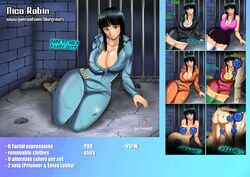 1girls 2boys ahegao big_breasts black_hair blowjob bluegraves breasts brown_skin busty candy censored cleavage clothed clothing cum_in_mouth curvy dark_skin female female_only gangbang green_eyes jacket jeans jumpsuit large_breasts male miniskirt nami nico_robin nipples nude one_piece open_mouth pirate prison prisoner shiny_skin short_hair sitting skirt smile suggestive thick_legs thick_thighs threesome wide_hips