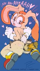 <3_eyes absurd_res anal anus ass bodily_fluids breasts cream_the_rabbit disembodied_penis flat_chested heart hi_res male nipples nude penis pleasure_castle pussy sonic_(series) sweat tails