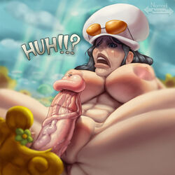 1futa 1girls abs big_breast big_penis breasts busty curvy dialogue female futa_on_female futanari huge_cock imminent_sex inverted_nipples large_areolae large_breasts larger_female mansherry naked nico_robin nomad_reverse one_piece plump_labia plump_vulva precum shocked size_difference small_but_hung small_dom_big_sub smaller_futanari suprised text thick_penis vein veins veiny_penis voluptuous wide_hips