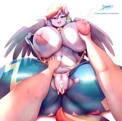 1girls areolae breast_grab breasts female friendship_is_magic huge_breasts lactation looking_at_viewer male milk my_little_pony nipples pov pussy rainbow_dash_(mlp) spindles spread_legs tentacle_sex