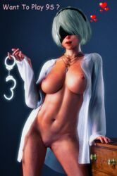 3d abs android areolae background belly belly_button blindfold blue_background brown_nipples cybercole360 dresser english_text erect_nipples female female_only games half-dressed half_naked half_nude handcuffs headband headwear heart jewelry legs lips lipstick medium_breasts mole mole_under_mouth navel necklace nier nier:_automata nier_(series) open_mouth open_shirt pendant pink_skin posing pussy pussy_lips red_lipstick render shaved_pussy shirt short_hair silver_hair simple_background solo solo_female standing standing_up stomach tanned teasing teeth thighs vagina video_games white_hair white_shirt xnalara xps yorha_2b yorha_no._2_type_b zorglube