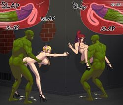 2boys 2girls against_wall armpits ass ass_grab bald bent_over big_penis blackguard blonde_hair breasts doggy_style erza_scarlet eye_contact fairy_tail flower green_skin half-closed_eyes heels human inside_view interspecies large_breasts larger_male looking_at_viewer looking_back lucy_heartfilia missionary_position monster orc penis pixel_art pointy_ears ponytail red_hair sex size_difference smaller_female smile sound_effects source_request spread_arms spread_legs stand_and_carry_position standing standing_sex text thick_thighs torso_grab used_condom v veins veiny_penis wide_hips x-ray