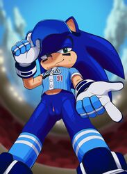 andromorph baseball_uniform bottomless clothed clothing hi_res intersex low-angle_view nowykowski7 pussy rule_63 sonic_(series) sonic_the_hedgehog sportswear uniform worm's-eye_view