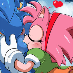 1:1 amy_rose anthro anus ass ball_suck balls bodily_fluids duo eulipotyphlan female heart hedgehog hyoumaru male male/female mammal oral penis rosy_the_rascal sex sonic_(series) sonic_the_hedgehog sucking sweat