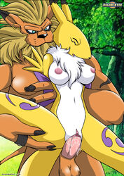 anthro anthro_on_anthro anthro_penetrating arms_behind_back breasts closed_eyes cum_in_pussy cum_inside digihentai digimon ear_piercing fox fox_ears fox_tail from_behind hand_on_thigh holding_arm_back holding_leg humanoid_penis legs_up leomon lion male/female male_penetrating palcomix renamon
