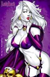 1girls big_breasts big_breasts bra breasts busty cape chaos_comics cleavage earrings erect_nipples erect_nipples_under_clothes eyeshadow female female_only finger_to_mouth garter_belt garter_straps gloves grey_skin lady_death large_breasts lipstick long_hair makeup mascara mike_debalfo nail_polish nipples nipples_visible_through_clothing official_art panties pinup purple_bra purple_cape purple_gloves purple_panties purple_thighhighs red_lips red_lipstick red_nail_polish red_nails see-through see-through_bra signature skull skull_earrings skulls smile smiling solo squirrelshaver text thighhighs thighs white_hair white_pupils