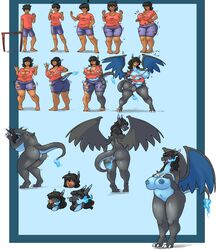 ! 1girls 2017 3_toes 4_fingers alternate_species anthro anthrofied areolae ass back barefoot big_ass big_breasts big_nipples black_hair black_skin blue_background blue_skin bottomwear breast_expansion breast_growth breasts butt_expansion charizard chubby claws clothed clothes clothing feet female fire fire_breathing gender_transformation hair hand_on_breast hands_on_chest hi_res huge_ass huge_breasts human human_to_anthro large_ass large_breasts long_hair long_neck looking_at_viewer looking_back male mammal mega_charizard_x mega_evolution motion_lines mtf_transformation nintendo nipples nude overweight overweight_female overweight_male pointy_ears pokémon_(species) pokemon pokemon_rgby pokemon_xy pose pussy red_eyes scalie sequence shirt short_hair shorts simple_background slipe smile snout solo species_transformation spikes standing surprise tail tail_growth thick_thighs topwear torn_clothes torn_clothing transformation trembling video_games voluptuous wardrobe_malfunction weight_gain white_border wide_hips wince wing_growth wings