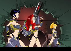 3_way_(slut_squad) animated big_breasts bikini_armor black_hair blonde_hair blowjob cowgirl_position group_sex gun multiple_penises orgy red_hair science_fiction standing_sex weapons