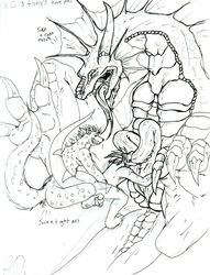 2008 anal breasts canid canine dragon exodite fellatio forced graffix group group_sex hyaenid male mammal oral penile penis randomdragon randomdragon_(character) rape sex spotted_hyena traditional_media_(artwork)
