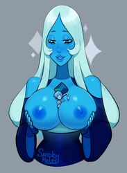 between_breasts blue_diamond_(steven_universe) blue_skin breasts_outside bust huge_breasts lips long_hair size_difference smile smokyholes steven_universe