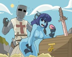 ambiguous_penetration armor blue_skin chest clothed_male_nude_female donut food from_behind_position gloves helmet large_breasts original outdoor_sex outdoors ragingbarbarians root_sword sex sky sword