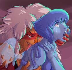2girls blue_hair blue_skin crying head_grab jasper_(steven_universe) lapis_lazuli_(steven_universe) licking orange_skin shadowpelt size_difference steven_universe tongue_out