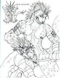 2008 anthro anthro_on_anthro breasts dragon exodite fellatio forced graffix group gynomorph gynomorph/male hyaenid intersex intersex/male male mammal oral penile penis randomdragon randomdragon_(character) rape sex spotted_hyena traditional_media_(artwork)